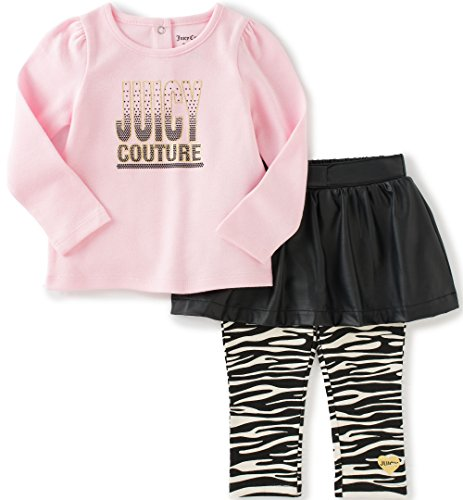 Pink Leather Juicy Couture (Juicy Couture Baby Girls' 2 Piece Skeggings Set with Pleather Skirt, Pink, 18 Months)