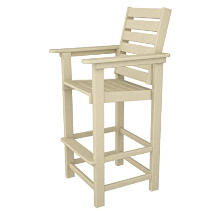 POLYWOOD CCB30SA Captain Bar Chair, Sand