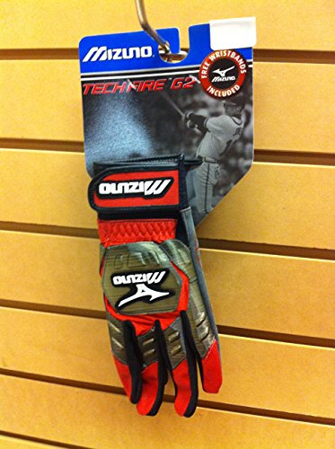 Mizuno Techfire Batting Gloves Free Wristbands Adult Small RED ()