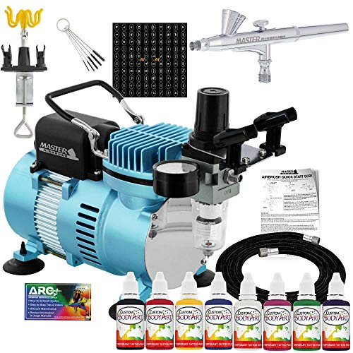 Master Airbrush Cool Runner II Dual Fan Air Compressor Custom Body Art System Kit with Gravity Feed Airbrush, 8 Color…