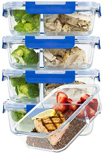 [LARGER PREMIUM 5 SET] 2 Compartment Glass Meal Prep Containers with Lifetime Lasting Snap Locking Lids Glass Food Containers BPA-Free, Microwave, Oven, Freezer and Dishwasher Safe (4.8 Cups, 39 Oz.) Divided Storage Plate Set