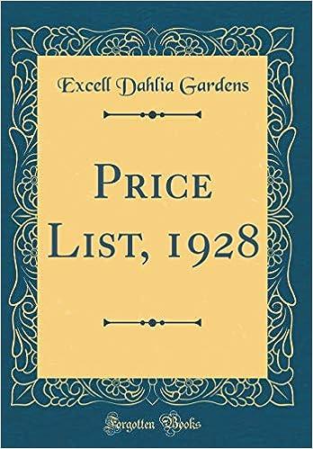 Price List, 1928 (Classic Reprint): Excell Dahlia Gardens