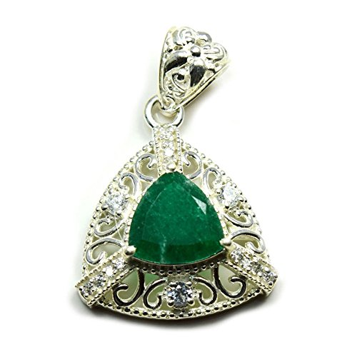 Price comparison product image Gemsonclick Natural Emerald Triangle Shape Pendant 925 Sterling Silver MSR-280