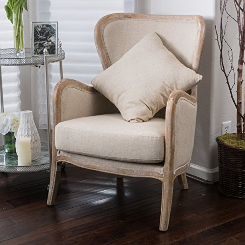 Great Deal Furniture 296543 Milton | Fabric and Oak Wing Chair | in Beige,