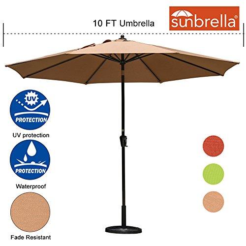 Sundale Outdoor 10 Ft Sunbrella Canopy Patio Market Umbrella Garden Aluminum Umbrella with Crank and Auto Tilt, (Sunbrella Canopy)