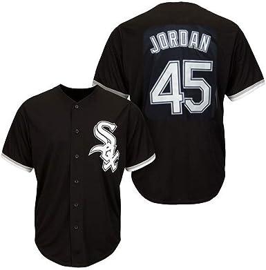 45 CWS Jordan White Sox, Camiseta de béisbol para Hombre, Camiseta de béisbol para fanáticos, Camiseta de Manga Corta, Uniforme de Equipo, Top Abotonado, Negro M-3XL: Amazon.es: Ropa y accesorios