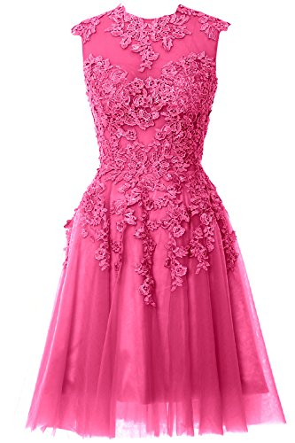 MACloth Women A Line High Neck Lace Short Prom Dress Formal Party Evening Gown Fuchsia