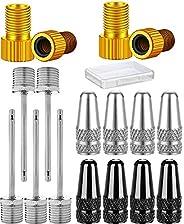 HangYu Bike Pumps Accessories 4Pcs Presta and Schrader Valve Adapter 8 Bike Valve caps 5 Air Pump Needle