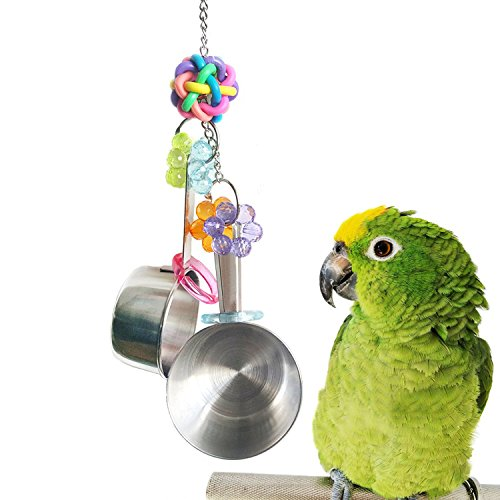 Stainless Steel Parrot Toys (Mrlipet Parrot Toys, Stainless Steel Cup Bell Toys For Birds, Heavy Duty Bird Cage Toys for Parrots Parakeet African Grey Amazon Cockatoo Conure)