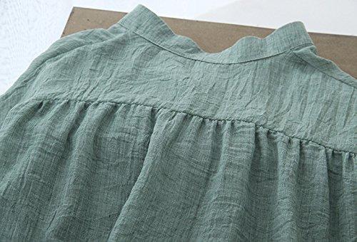 Manica Collo Blusa Donna Camicia breasted Single Camicetta Camice Tinta Semplice Coreana Haidean Glamorous Unita Basic Casual Verde Vintage Elegante Lunga Moda 5qXtgwHw