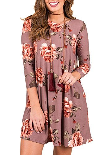ZESICA Women's Floral Print 3/4 Sleeve Round Neck Casual T Shirt Tunic Dress with Pockets,Dusty Rose,Large (Rose Floral Dress)