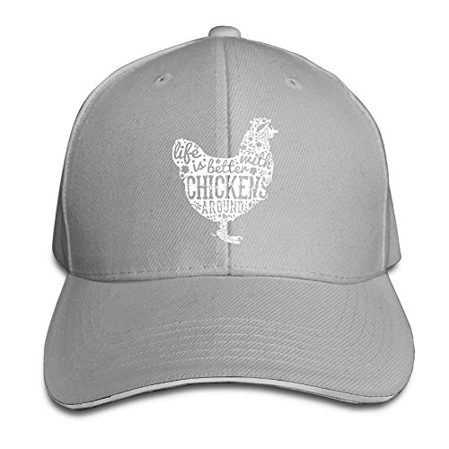 Kusster Adults Peaked Baseball Cap,hats Farm Love Life Is Better With Chickens Around,sandwich Hat,sports Caps,cotton (Chicken Hats)