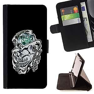 BullDog Case - FOR/Samsung Galaxy S4 IV I9500 / - / ROSE TOP HAT BLACK WHITE SKULL FLOWER /- Monedero de cuero de la PU Llevar cubierta de la caja con el ID Credit Card Slots Flip funda de cuer
