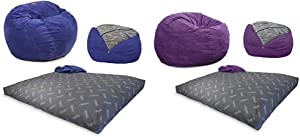 CordaRoy's Chenille Bean Bag Chair, Convertible Chair Folds from Bean Bag to Bed- Full Size & Corduroy Bean Bag Chair, Convertible Chair Folds from Bean Bag to Bed, Purple - Full Size