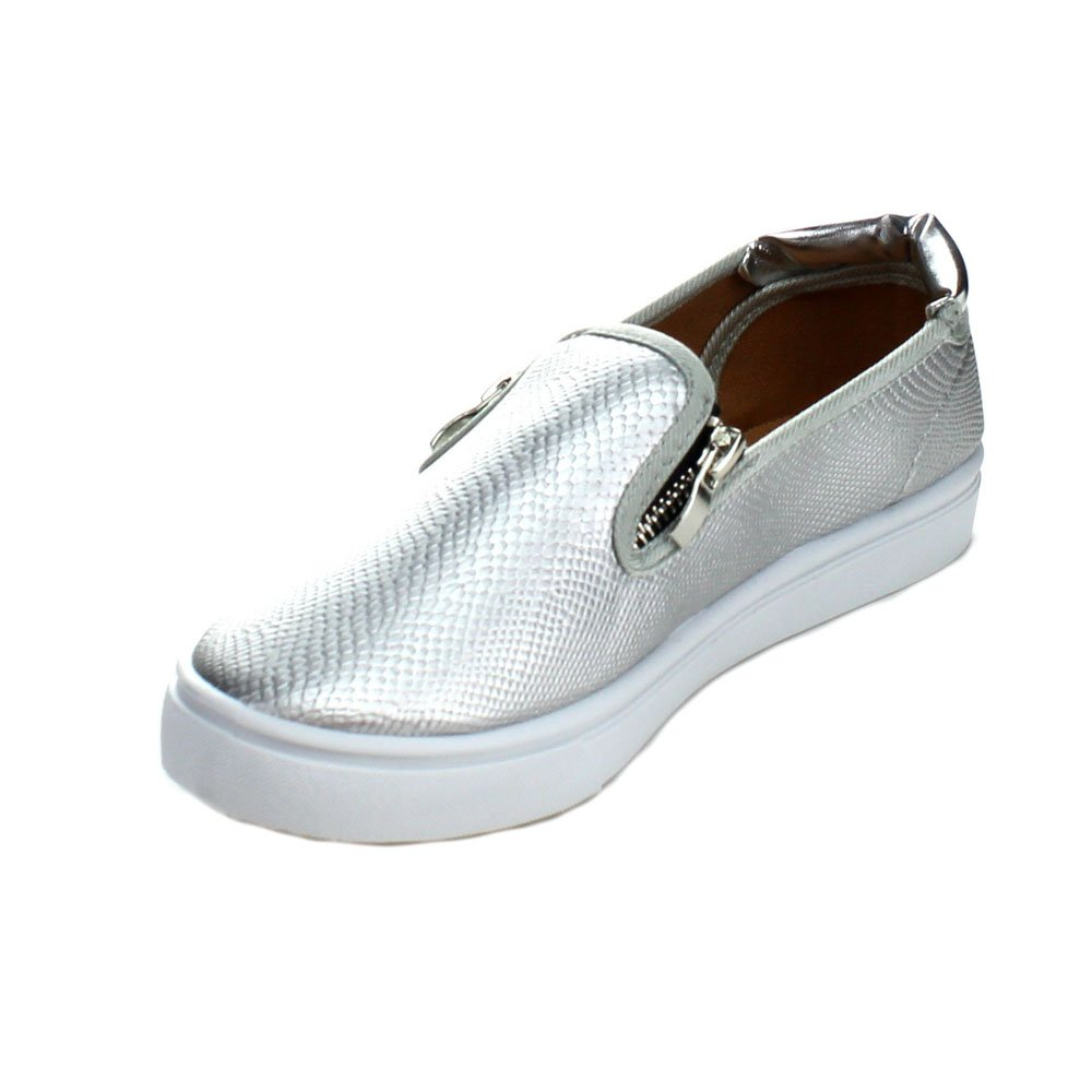 Color:SILVER Qupid ZING-04 Womens Step In Casual Zipper Decor Loafer Shoes Size:8