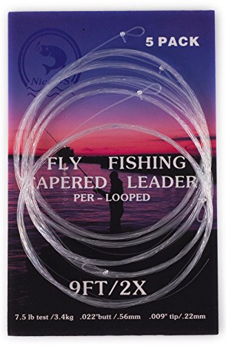 5 Pack- 9' Fly Fishing Tapered Leader with Loop, Size 0X to 7X Available (2X)