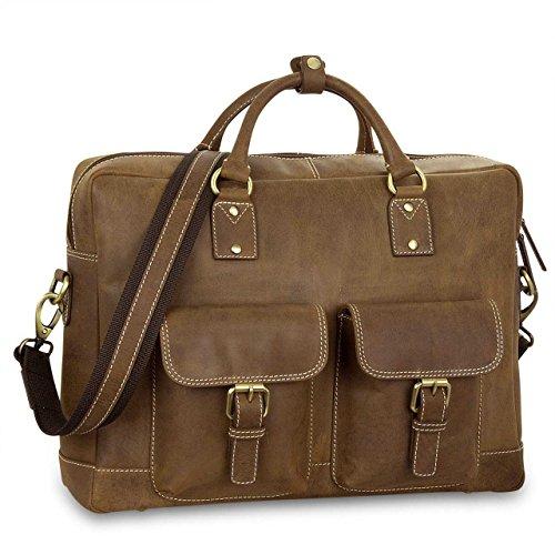tracolla l'università pelle Borsa STILORD per Bag Notebook Valigetta in vera Messenger Cartella marrone 15'' a Bag Borsa xZnwqHp7n