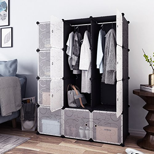 Tespo Portable Clothes Closet, Wardrobe Cabinet, Bedroom Armoire, Storage Organizer with Doors, Capacious & Sturdy. Black 12 Cubes with Floral Pattern. (Organizer 15 Cube)
