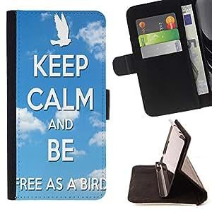 Super Marley Shop - Funda de piel cubierta de la carpeta Foilo con cierre magn¨¦tico FOR Samsung Galaxy S5 Mini SG870a, SM-G800- Keep clam And Be Free As A Bird