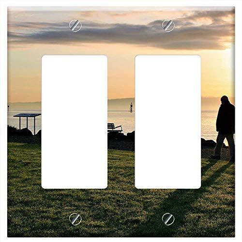 Switch Plate Double Rocker/GFCI - Sunrise Autumn Spacer Lake Dawn Morning Sun ()