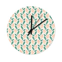 Peceeta Plant, Green, Flower, Grass, Trees, Bird 12 Inches Round Wooden Modern Silent Wall Clock Universal Colorful Indoor Decorative White 12x12 inch
