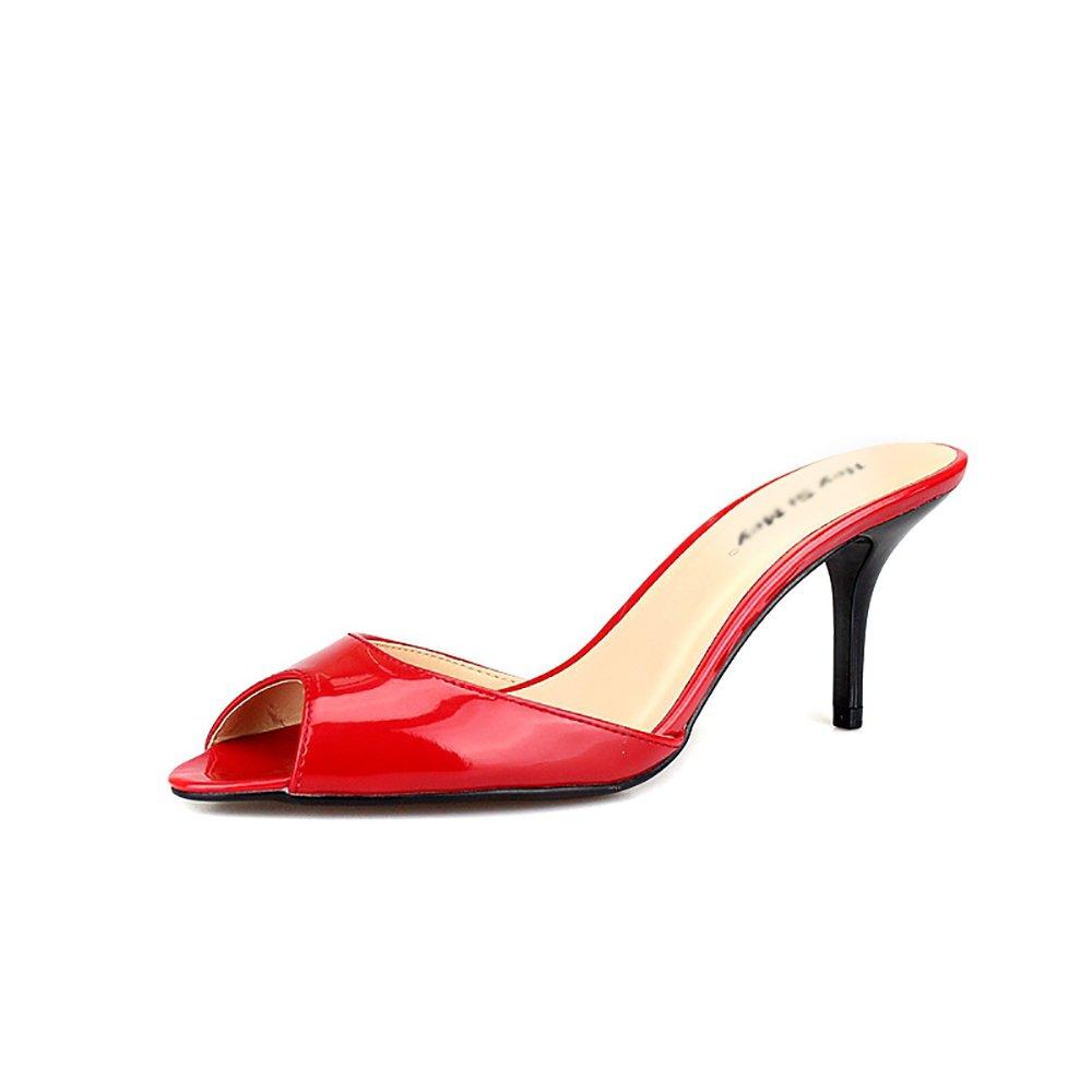 Frauen Glänzend Mule Sandalen Schieben Hausschuhe Stiletto High Heels Slip Vorne Undichte Zehen Hausschuhe,Red,39