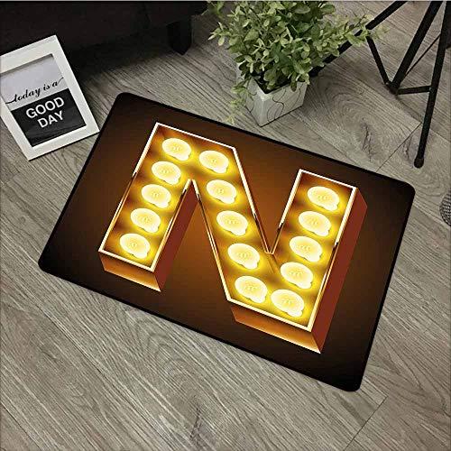 (LOVEEO Crystal Velvet Doormat,Letter N Language Alphabet Symbol Vegas Vintage Design Typography Art Inspiration,with No-Slip Backing,24