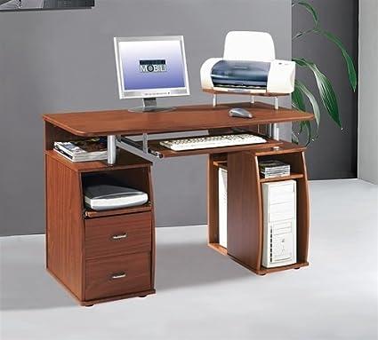 Amazon Com Compact Mahogany Computer Desk With Storage Printer