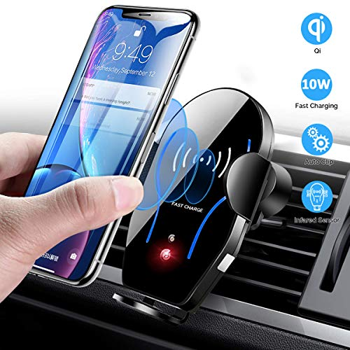 Wireless Car Charger Mount, Mikikin Auto-Clamping Qi 10W 7.5W Fast Charging Car Phone Holder Air Vent Compatible with iPhone X XR Xs Xs Max 8 8 Plus, Samsung S6 S7 S8 S9 Edge , Note 7 Note 8 More