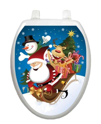 Joy Ride Toilet Tattoo TT-X626-O Elongated Winter Snow Holiday Santa