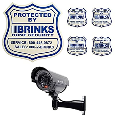 Home Security Yard Sign 4 Security Stickers Decals And Fake Security Dummy Camera CCTV Indoor Outdoor with one LED Light .Home Security Bundle from Home security