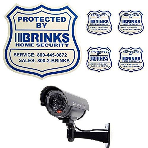 Home Security Yard Sign 4 Security Stickers Decals And Fake Security Dummy Camera CCTV Indoor Outdoor with one LED Light Bundle