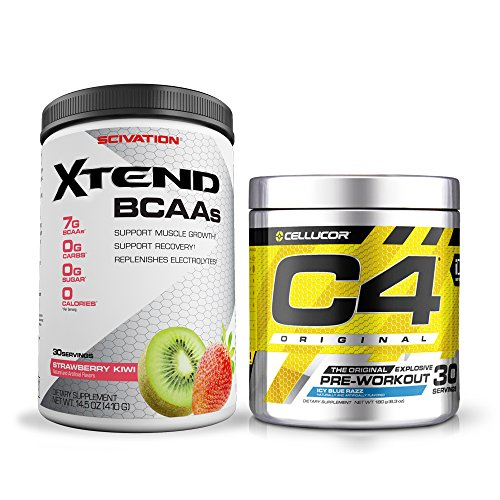 Pre/Post Workout Stack - C4 Original 30 Servings Icy Blue Razz and Xtend 30 Servings Strawbery Kiwi