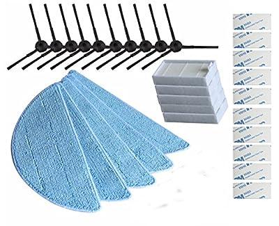 Replacement Consumable Accessories Parts 10pcs Side Brush + 5pcs Hepa Filter + 5pcs Mop Cloth + 10pcs Magic Paste for ILIFE V3 V3s V5 V5s V5s pro Robot Vacuum Cleaner