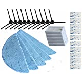 Electropan Replacement Consumable Accessories Parts 10pcs Side Brush + 5pcs Hepa Filter + 5pcs Mop Cloth + 10pcs Magic Paste for ILIFE V3 V3s V5 V5s V5s pro Robot Vacuum Cleaner