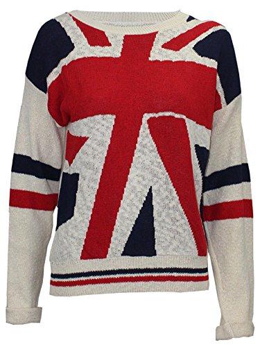 hiver Mesdames drapeau Jumper porter Imprimer Sweat Flag Knit Nouveau Uk Tops xZtpwqw5