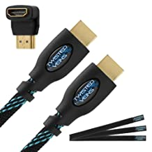 Twisted Veins (100 ft) High Speed HDMI Cable + Right Angle Adapter and Microfiber Cable Ties (Latest Version Supports Ethernet, 3D, and Audio Return)