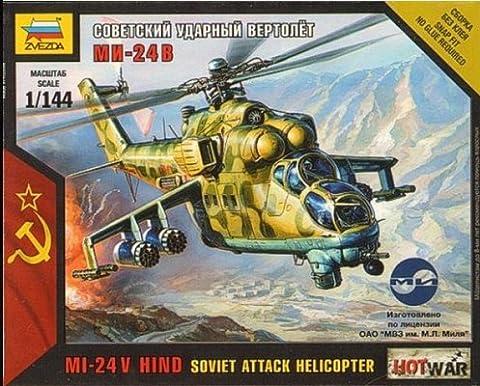 Soviet attack helicopter Mi-24V 1/144 Zvezda 7403 - Mi 24 Hind Helicopter