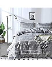 "Grey Comforter Set Queen, Soft Microfiber Reversible Boho Striped Down Alternative Comforter Set for All Seasons - 3 Pieces (1 Solid Comforter + 2 Pillowcases), Filling Duvet Bedding Set 90""x 90"""