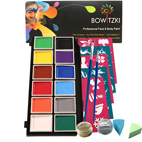 Face Paint Kit, Bowitzki 12 Vibrant Colors 2 Glitter 2 Brushes 40 Stencils 2 sponges,Non Toxic Hypoallergenic Water Based FDA Compliant Professional Halloween Painting Set for Kids