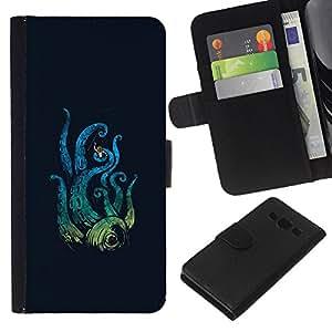 KLONGSHOP // Tirón de la caja Cartera de cuero con ranuras para tarjetas - Ataque del pulpo - Samsung Galaxy A3 //