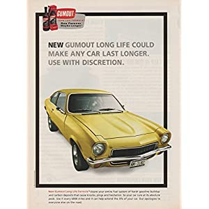 1998 GUMOUT LONG LIFE FORMULA GAS CLEANER with 1971 CHEVROLET VEGA VINTAGE COLOR AD - USA - GREAT ORIGINAL !!