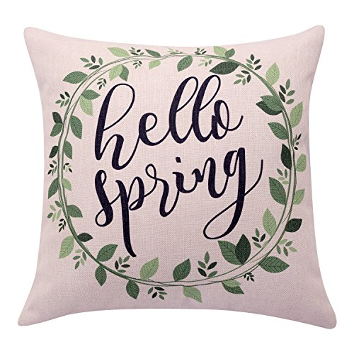 BreezyLife Watercolor Flower Throw Pillow Cover Spring Wreath Decorative Pillow Case Hello Spring Quote Cushion Cover for Sofa Cottage Farmhouse Outdoor Home Decor Housewarming Gift 18 x 18 Inches