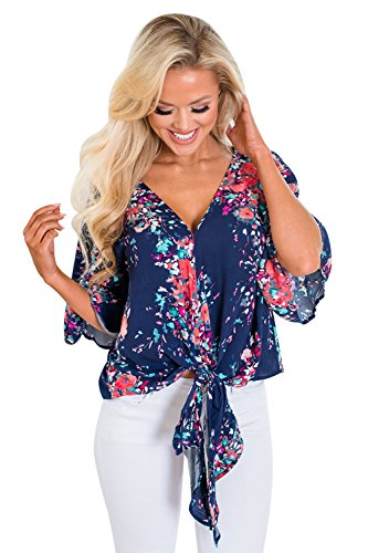 Silindashop Womens Summer Floral Chiffon Blouses 3/4 Sleeve V Neck Tie Front Tops Tee Shirts