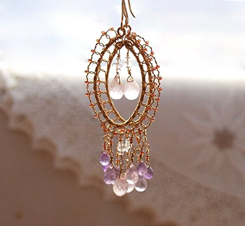 Pink and Purple Amethyst with Rose Quartz Chandelier Earrings in 14k - Quartz Rose Filigree Earrings