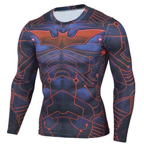 Dri-fit Compression Gym Shirt for Mens Long Sleeve Batman Costume Shirt S ()