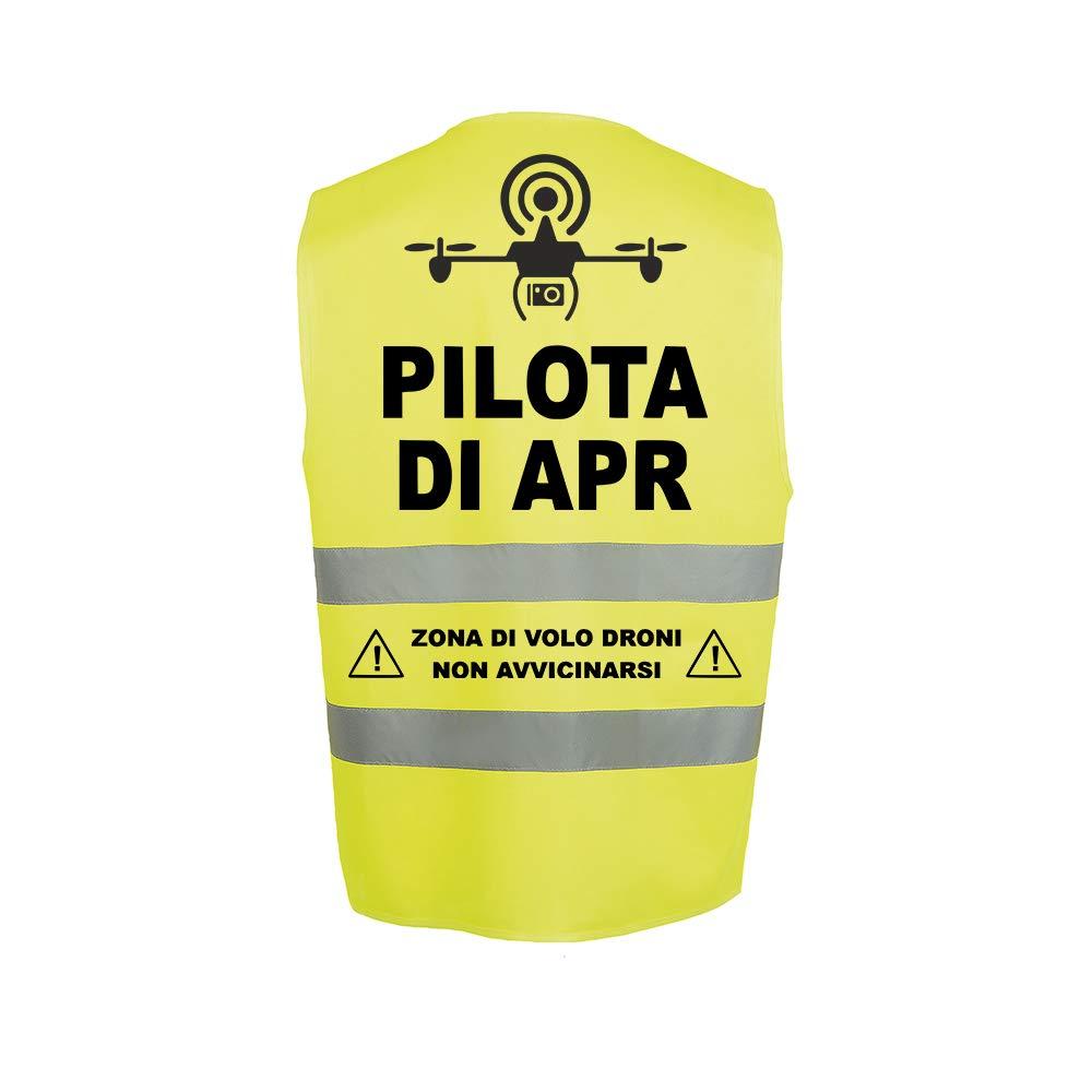 Fashion Graphic Gilet Pilota di Apr Drone Mod1 Alta visibilit/à Giallo Giubbotto Aderente Slim Fit Catarifrangente Sicurezza ISO EN20471 Arancione, S