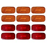 Dream Lighting 12V DC LED Side Marker Clearance Light for RV Trailer Truck Lorry Car Boat Indicator Automotive Front Rear Light-Pack of 12, 6 Amber Lights & 6 Red Lights
