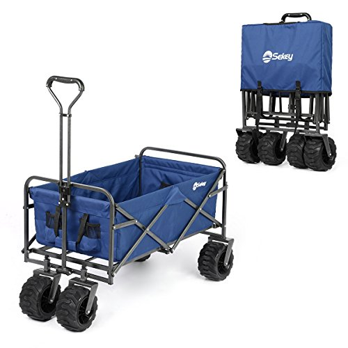Powder Wagon - Sekey Folding Wagon Cart Collapsible Outdoor Utility Wagon Garden Shopping Cart Beach Wagon with All-Terrain Wheels, 265 Pound Capacity, Blue
