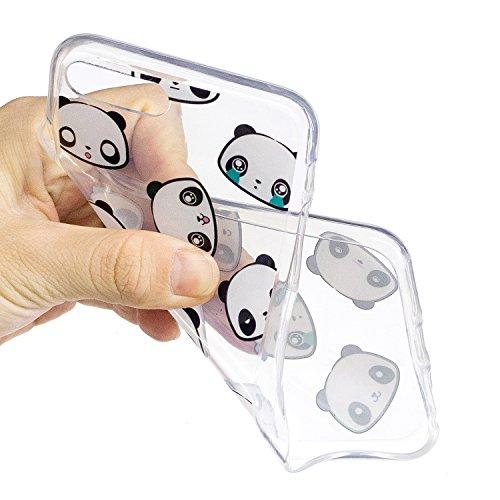 iPhone 8 Plus Hülle,Netter Panda Premium Handy Tasche Schutz Transparent Schale Für Apple iPhone 8 Plus + Zwei Geschenk